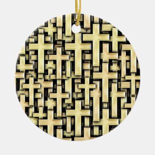 Golden Crosses Double-Sided Ceramic Round Christmas Ornament