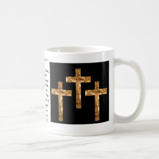 Golden Crosses on  and scripture cover this mug... Classic White Coffee Mug