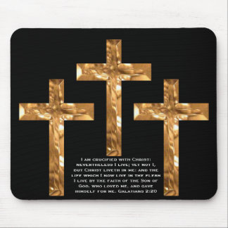 Golden Crosses on black mouse pad with Scripture.