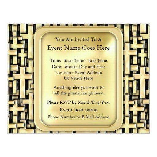 Golden Crosses Personalized Invitations