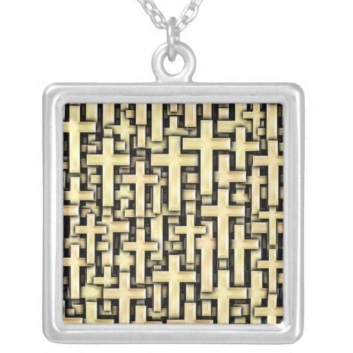Golden Crosses Square Pendant Necklace
