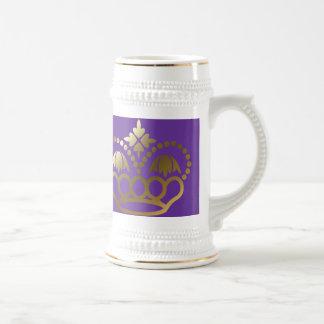 Golden crown beer stein