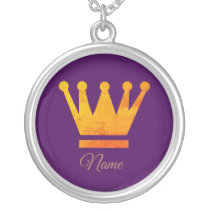 Golden Crown, Custom Name  Necklace