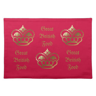 Golden crown designs, Great Britsh Food Cloth Placemat