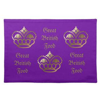 Golden crown designs, Great Britsh Food Placemat