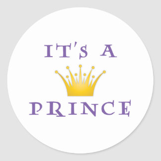 "Golden Crown ""It's a Prince"" with Wizard font Classic Round Sticker"
