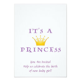 """Golden Crown """"It's a Princess"""" with Wizard font Card"""