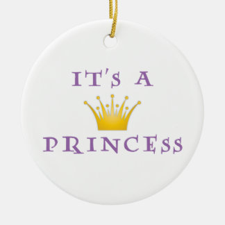 """Golden Crown """"It's a Princess"""" with Wizard font Ceramic Ornament"""