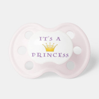 "Golden Crown ""It's a Princess"" with Wizard font Pacifier"