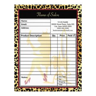 Golden Crown Leopard Print Hair Salon Order Form Letterhead