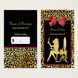 Golden Crown Leopard Print Red Bow Salon Hang Tag