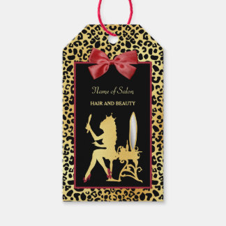 Golden Crown Leopard Print With Red Bow Hair Salon Gift Tags