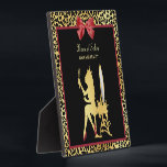 """Golden Crown Leopard Print With Red Bow Hair Salon Plaque<br><div class=""""desc"""">A glamorous hair salon plaque with a woman wearing a gold crown. The background is decorated with a trendy black and gold leopard print and a girly red bow. Flat printed Image,  NOT metallic or actual bow.</div>"""