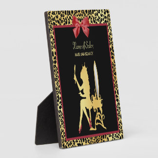Golden Crown Leopard Print With Red Bow Hair Salon Plaque