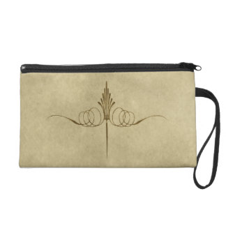 Golden Crown Parchment Style Wristlet