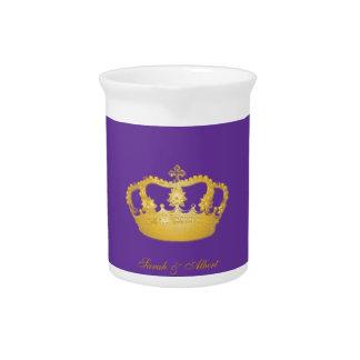 Golden Crown Pattern Beverage Pitcher