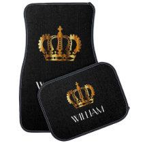 Golden Crown Personalized Name Black Car Floor Mat