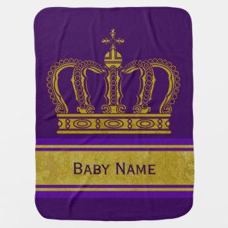 Golden Crown + your Backgr. & Baby Name Receiving Blanket