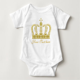 Golden Crown + your text Baby Bodysuit
