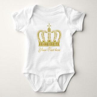 Golden Crown + your text Baby Bodysuit