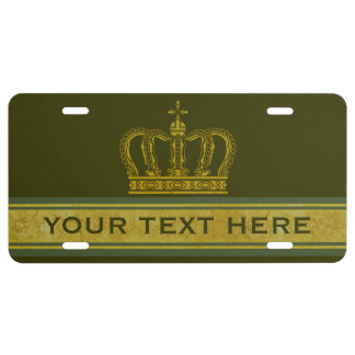 Golden Crown + your text & background License Plate