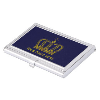 Golden Crown + your text Business Card Case