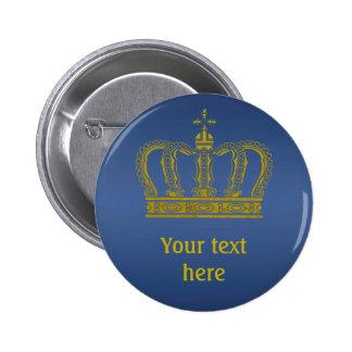 Golden Crown + your text 2 Inch Round Button
