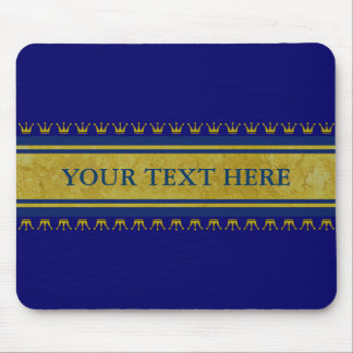 Golden Crowns Border + your text & background Mouse Pads