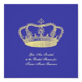 "Golden Crowns 5.25"" Square Invitation Card"