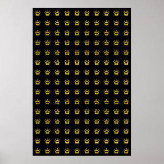 Golden Crowns on Black Background Poster