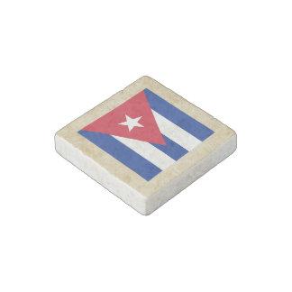 Golden Cuba Flag Stone Magnet