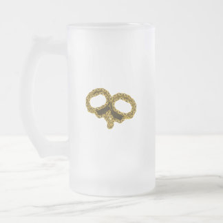 GOLDEN CUFFS FROSTED GLASS BEER MUG