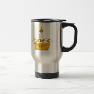 Golden Cupcake 50th Birthday Gifts Travel Mug