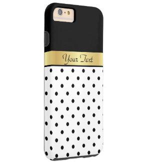 Golden Custom Name On White & Black Polka Dots Tough iPhone 6 Plus Case