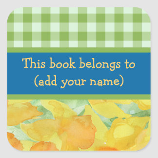Golden Daffodils and Gingham Bookplates Square Sticker