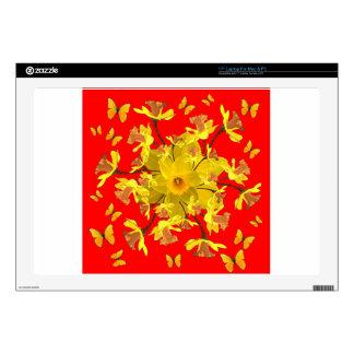 "Golden Daffodils Butterfly Red Art Design Skin For 17"" Laptop"