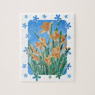 Golden Daffodils With Flower Border Jigsaw Puzzle