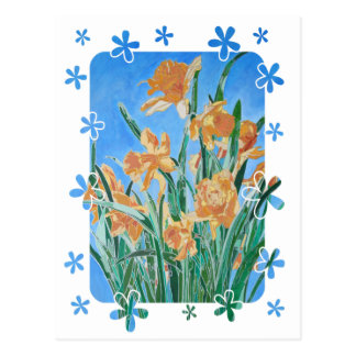 Golden Daffodils With Flower Border Postcard