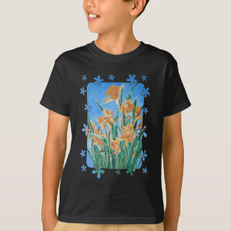 Golden Daffodils With Flower Border T-Shirt