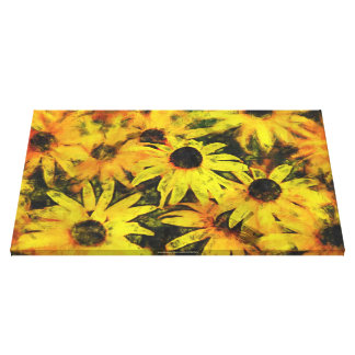 Golden Daisies Wrapped Canvas by Phoebe Fawkes