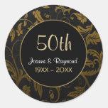 Golden Damask 50th Anniversary - Customize Round Sticker