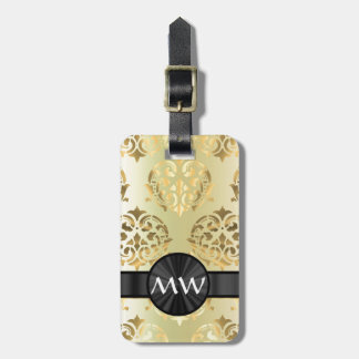 Golden damask bag tag