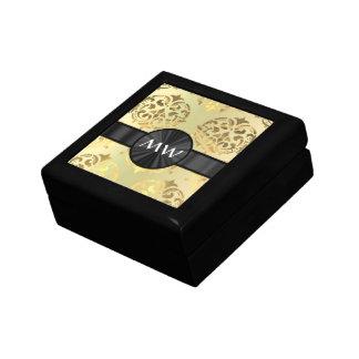 Golden damask jewelry box