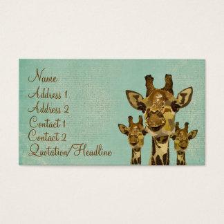 Golden Damask Giraffes Blue Business Card/Tags Business Card