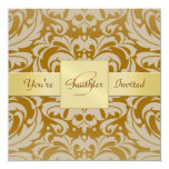 Golden Damask Gold Ribbon All Occasion Invitation