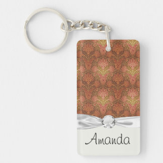 golden damask acrylic keychain