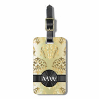 Golden damask luggage tags