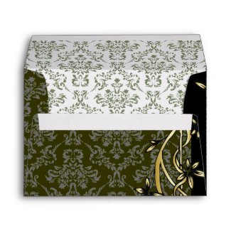 Golden Damask Luxury Custom Wedding Envelope envelope