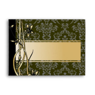 Golden Damask Luxury Custom Wedding Envelope