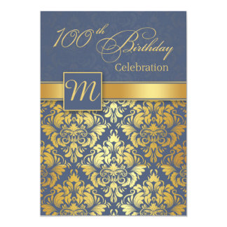 Golden damask on blue 100th Birthday Party Invite